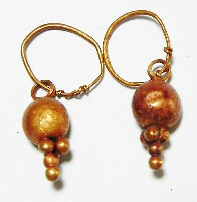 Zurqieh -As13502- Ancient Canaanite . Pair Of Gold Earrings. 1550 - 1200 B.c