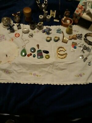 Junk Drawer Lot Miniature Collectibles, Stones, Costume Jewelry, Etc.
