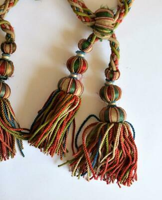 FINE PAIR of VINTAGE FRENCH SILK DOUBLE TASSEL CURTAIN TIE BACKS