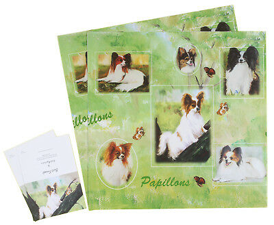 Papillon Dog Birthday Christmas All Occasion Wrapping Gift Paper 2 Sheets 2 Tags