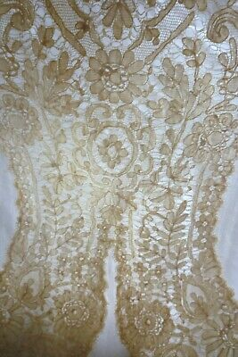 Antique 19Th C Lace Brussels Valenciennes ? Collar Dress Front Panel Unused
