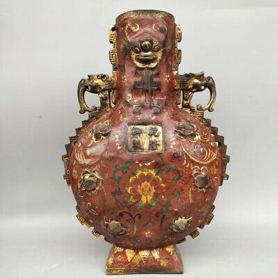 China Ancient Cloisonne Fushou Bottle Folk Collection 83 009