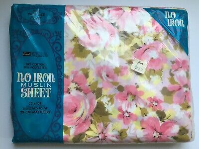 Vintage Bed Sheet Flat Twin Pretty Pink Floral FLower Grants NOS NIP Unused