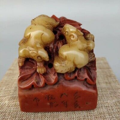 China Shoushan Stone Animal Seal Statue Folk Collection AA 082