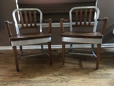 Shaw Walker Model 8312 Wood Aluminum Arm Chairs Mid Century 40's 50's Industrial