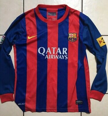 Boys Fcb Barcelona Football Kit Shirt - Long Sleeve - Messi 10 On Back Age 9-10
