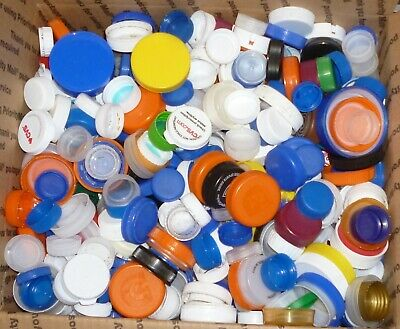 750 PLASTIC BOTTLE CAPS  MIXED COLORS & SIZES  Craft Supplies  WASHED