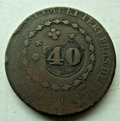 19th Century ANTIQUE BRAZIL 40 REIS LARGE COIN SEE PICTURES 38mm 28.3 gr