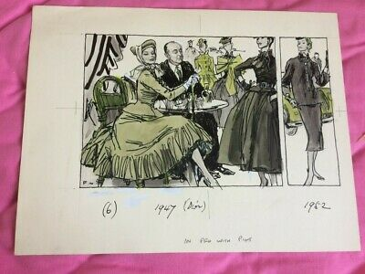 100 Years Of Fashion  Dior 1947-1952 Princess Gift Book 1970 Comic Illustration