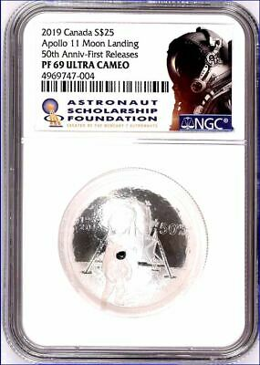 2019 $25 Canada Apollo 11 Ngc Pf69 Silver Proof 50Th Anniv First Releases Pop4