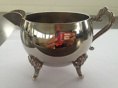 Art Deco Silver Plated Milk Server Ornate Flower Feet High Tea Room Table Deco