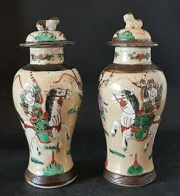 Pair of 19th C Chinese Stoneware / Porcelain ? Famille Verte Vases and Covers
