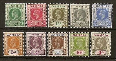 Gambia 1921 Definitive Set SG108-117 Mint Cat£110