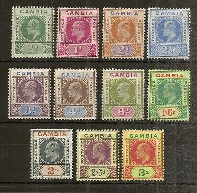 Gambia 1902 EDVII Definitives Mint Cat£200 (11v)