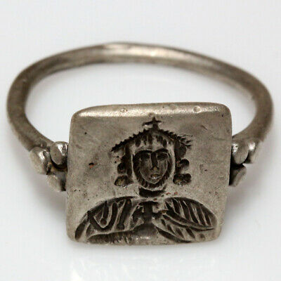 Stunning Byzantine Empire Silver Seal Ring King Leo V Depiction Circa 800-900 Ad