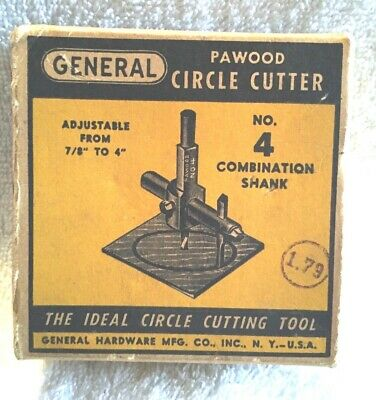 VINTAGE TOOLS PAWOOD CIRCLE CUTTERS GENERAL HARDWARE MFG. New York #4 BOX (1)