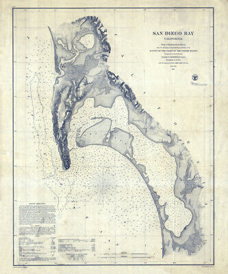 1857 Nautical Map of San Diego Bay California