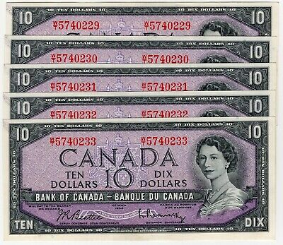 Lot Of 5 Consecutive 1954 Bank Of Canada Ten 10 Dollar Bank Notes Wt 5740229-233