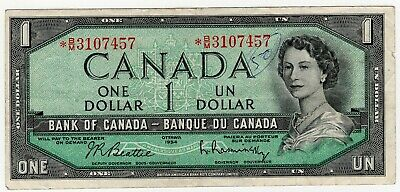 1954 Bank Of Canada One 1 Dollar Replacement Bank Note *Bm 3107457 Nice Bill