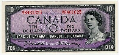 1954 Bank Of Canada Ten 10 Dollar Bank Note Ht 8461625 Nice Bill