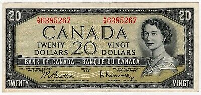 1954 Bank Of Canada Twenty 20 Dollar Bank Note Aw 6385267 Nice Bill