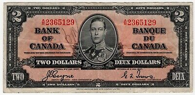 1937 Bank Of Canada Two 2 Dollar Bank Note Ar 2365129 Nice Bill