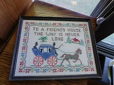 Friend's House Cross Stitch Picture Handmade Vintage Horse and Carriage Sampler