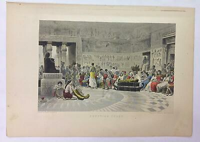 Antique Book Print Engraving 1892 Museum of Wonders Egyptian Feast Hand Colored