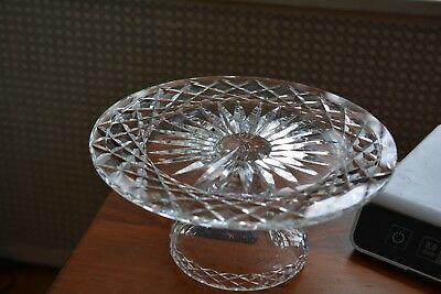 Vintage Crystal Cut Glass Pedestal Compote Dish Diamond Pattern Heavy