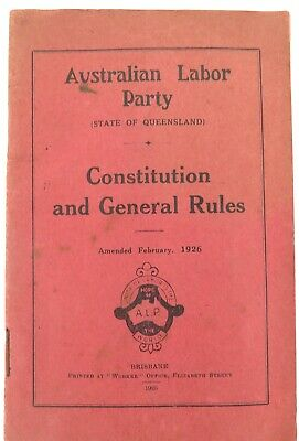 .Rare 1926 Australian Labor Party (Qld) Constitution And General Rules Booklet.