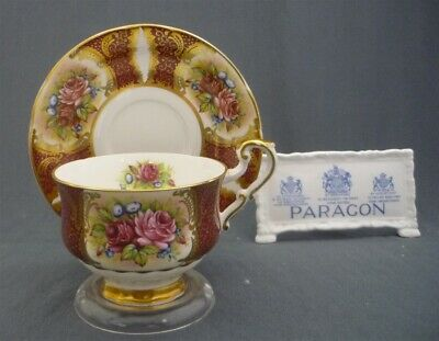 Paragon England Bone China Gold Hand Painted Red Pink Roses Tea Cup & Saucer Duo