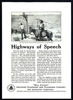 1923 Bell System Telephone Lineman in Nevada on Horse art vintage print ad