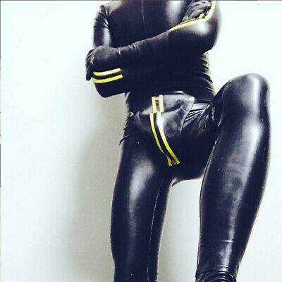 2019 100% Latex Rubber Men Yellow and Black Catsuit Tights Bodysuit Size S~XXL