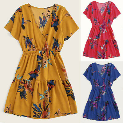 Women's Sexy Boho Casual High Waist Bohemia Print V Neck Summer Beach Midi Dress