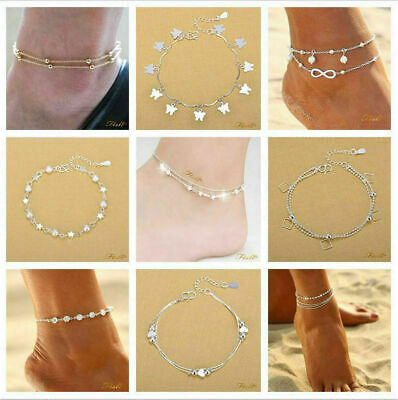 Beaded 925 Sterling Silver Anklet Foot Chain Ankle Bracelet Women Summer Jewelry
