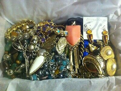 Vintage To Now Estate Find Jewelry Lot Junk Drawer Unsearched Untested Wear #109