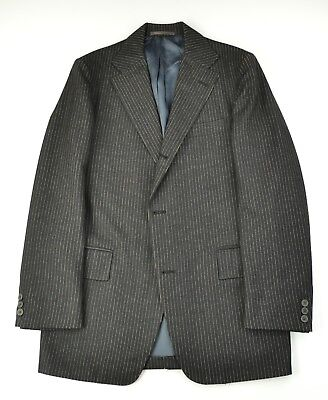 J. Press Jpress Vintage Charcoal Gold Pinstripe Flannel 3 Button Sack Suit Trad