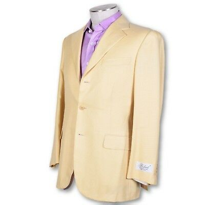 NWT Yellow Houndstooth Three Button Dual Vent Wool Silk Blend Sportcoat 40 40r