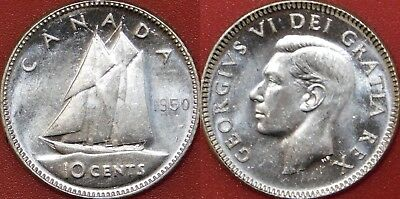 Brilliant Uncirculated 1950 Canada Silver 10 Cents