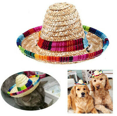 Colorful Pet Straw Hat Dog Cat Mexican Straw Sombrero Adjustable Buckle Hats  ~