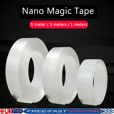 5m Washable Nano Double Sided No-Trace Removable Grip Glue Magic Tape Strong Gel