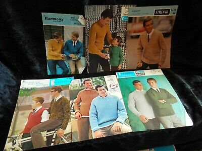 6 Vintage Knitting Patterns Mens & Boys Jumpers - Cardigans & Sleeveless Sweater