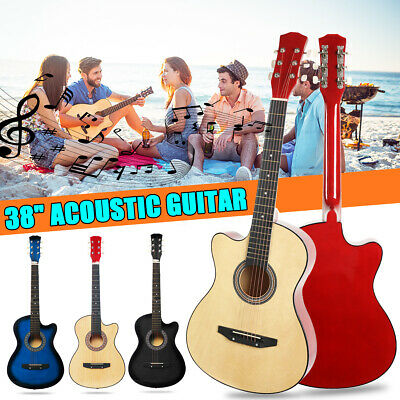 38'' Modern Wood Guitar Acoustic Musical for Beginners Students Kids Gift