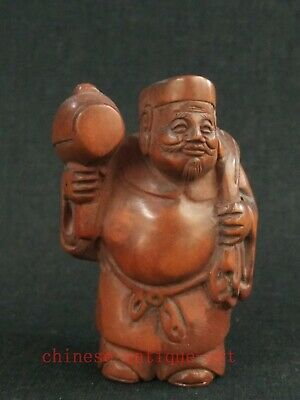 Rare Collected Exquisite Hand Carving Japanese Old Boxwood Figure Statue Netsuke