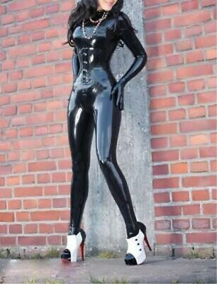 Latex Rubber Bodysuit Catsuit Anzug Gummi Suit Tights Black Ganzanzug Size S-XXL