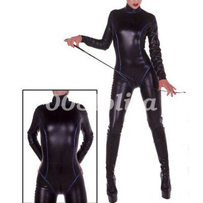 New 100% Rubber Latex Catsuit  Ganzanzug Kostüm Gummi Bodysuit black 0.4mm S-XXL