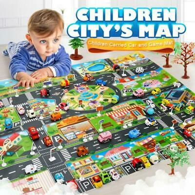 Kids Play Mat City Road Buildings Parking Map Educational Toys Game Scene Map