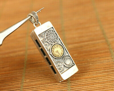useful chinese old 100% 925 silver hand carved harmonica pendant netsuke