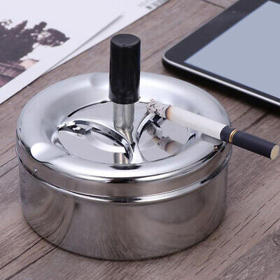 Stainless Steel Windproof Round Smokless Cigarette Ashtray Rotating With Lid New