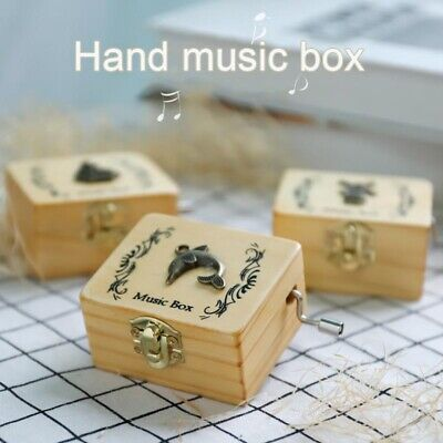 Music Box Wooden Hand Crank Carved Children Gifts Durable Creative Engraved Anti